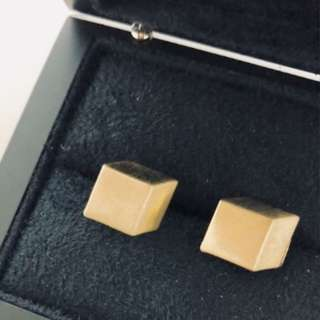 3D Gold Earrings (Square)