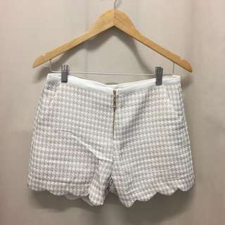 (NEW) Houndstooth High Waisted Gold White Shorts