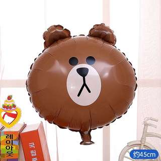 B68 Happy birthday balloon brown bear line