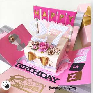 Happy 27 Birthday Explosion Box Card in Pink , black and grey