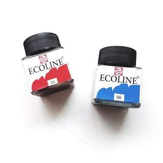 red and blue ecoline ink!