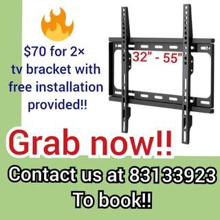 Tv bracket for 2 at $70