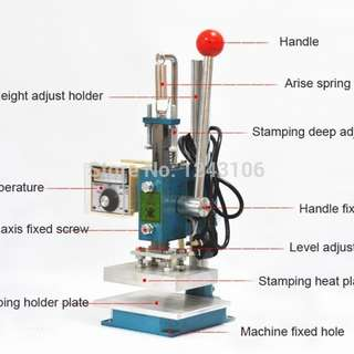Hot foil embossing machine leather