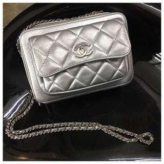Chanel silver camera bag