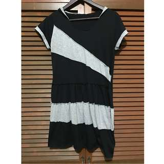 Black and Gray Long Top / Short Dress with Hoodie