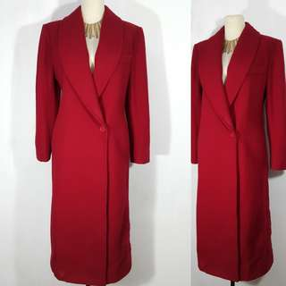 Anne Scott Wool Red Trench Coat Winter
