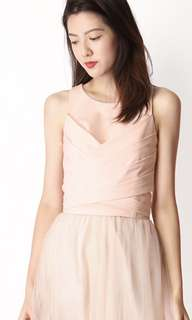 Aforarcade AFA Vivienne Tie Top in light pink, Size S