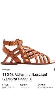 VALENTINO Rockstud Gladiator Sandals in Black — Size 35.5 - Fits 36