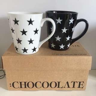 CHOCOOLATE 黑白星星情侶杯套裝