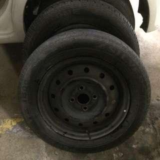 "rim myvi kompang 14"" pcd 100 4 holes with tyre"