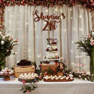 21st bday Rustic Floral Dessert Table Props RENT
