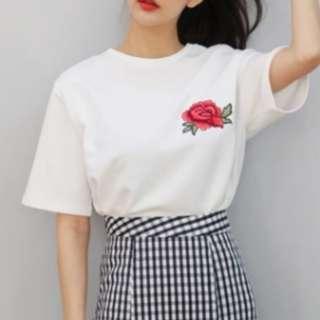 White Plain Rose T Shirt