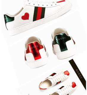 Gucci New Ace heart-detail leather trainers