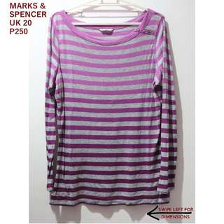 Marks and Spencer Gray And Pink Striped Longsleeves Top