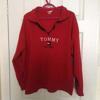 Red Tommy Hilfiger Quarter Zip