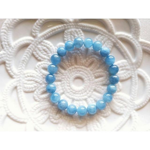 36號。9MM天然海藍寶手鍊手珠。現貨。3月幸運石