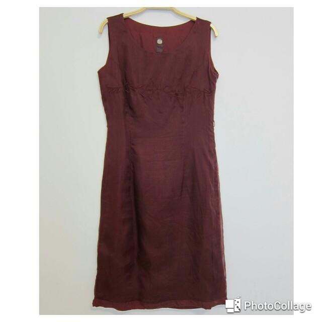 酒紅色中國風無袖洋裝