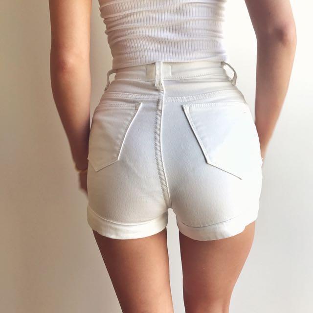超美!歐美風高腰彈力白色牛仔短褲
