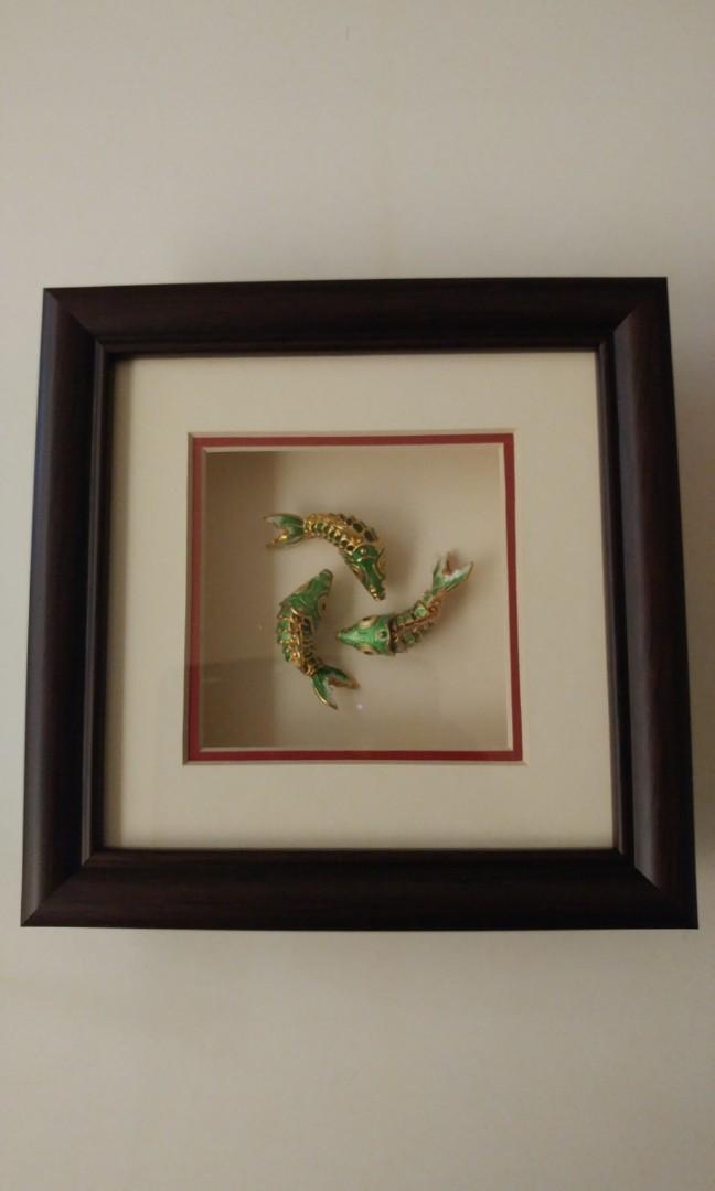 木裝框畫(年年有餘-鯉魚)