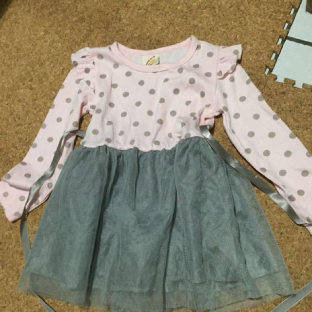 粉色圓點小洋裝