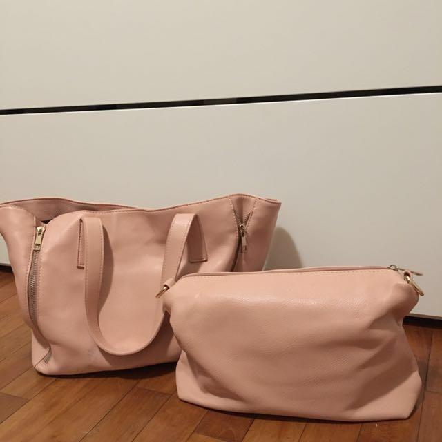 粉色手肩背包