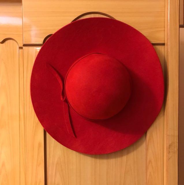 正紅 氣質大圓帽