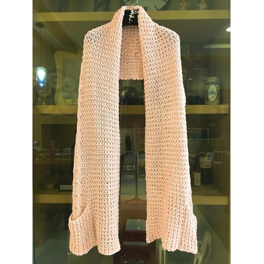 厚針織圍巾  淡粉色  有口袋