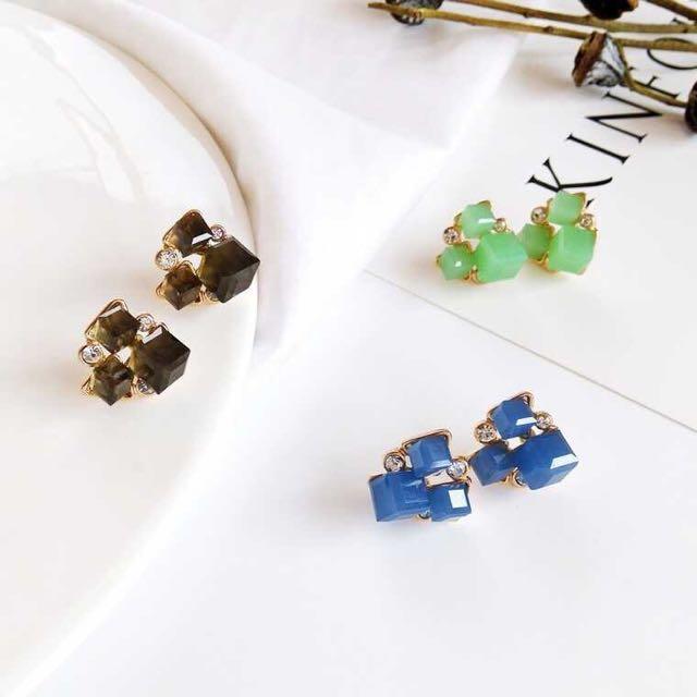 韓🇰🇷時尚 簡約方塊糖 耳環#超取再七折