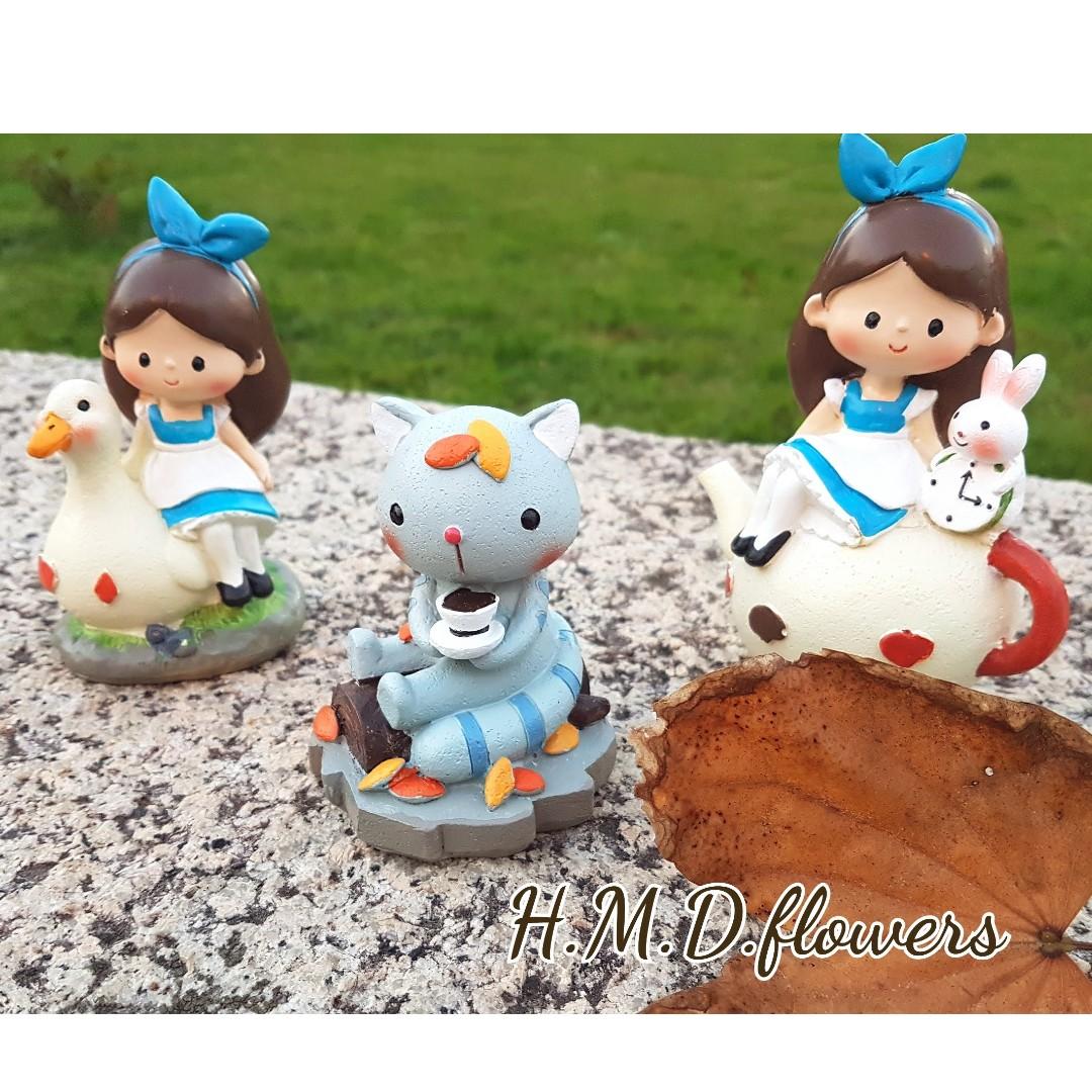 愛麗絲奇遇記 玩偶 公仔 女孩 茶壺 模型 攝影道具 貓 兔子