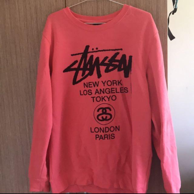 日本正品 Stussy World Tour大學T粉紅 L號
