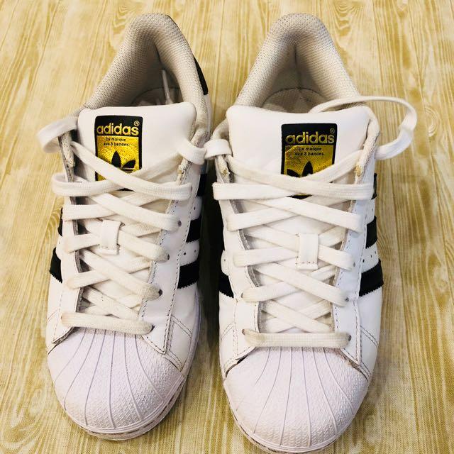 adidas superstar金標白鞋