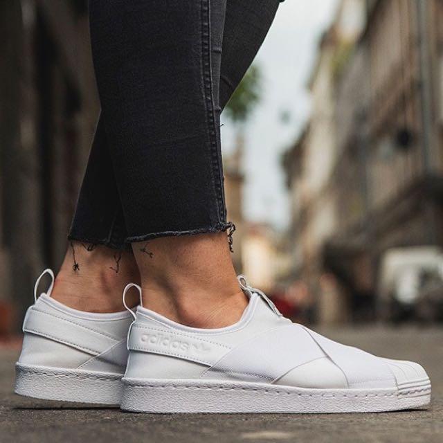 Adidas superstar slip on all white