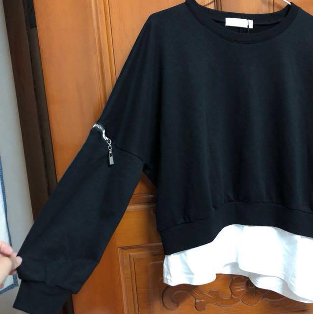 A-Fa黑色假兩件袖子拉鍊造型