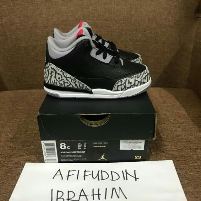 new styles 09656 d0225 Air Jordan 3 black cement infant