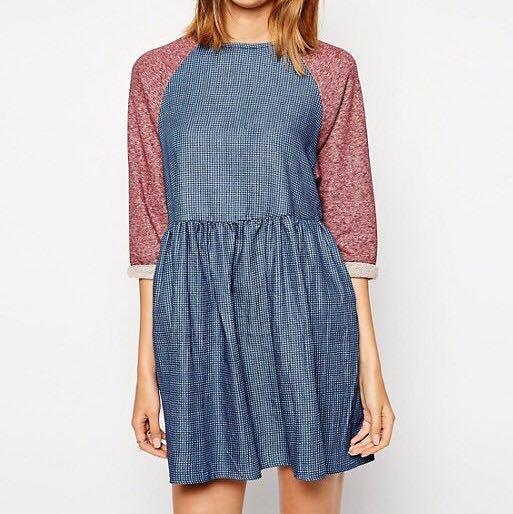 610a9c17366 Asos Petite denim mix jersey smock babydoll dress