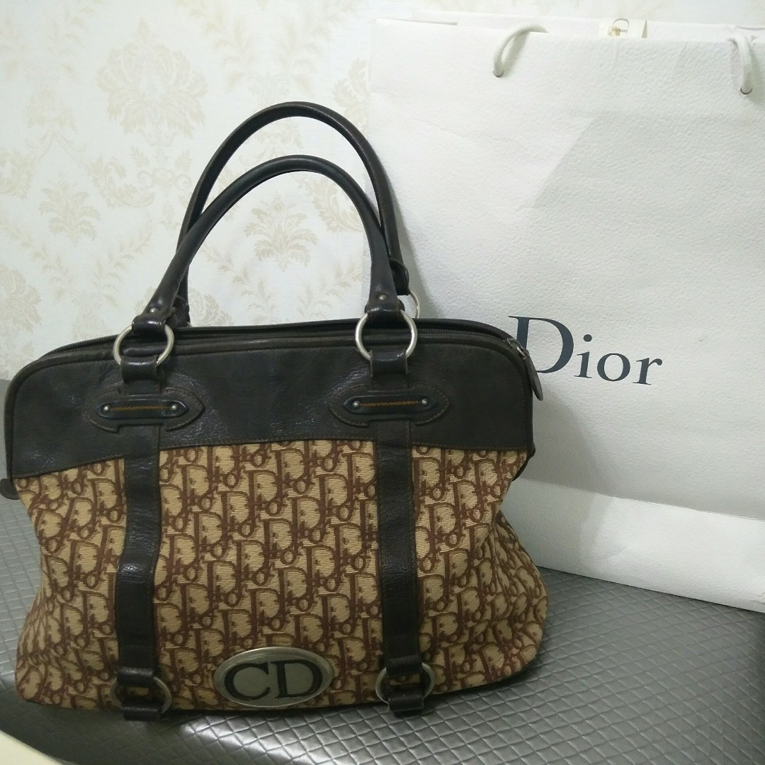 59663e637a9 Authentic Christian Dior Vintage Trotter Brown Canvas   Leather ...
