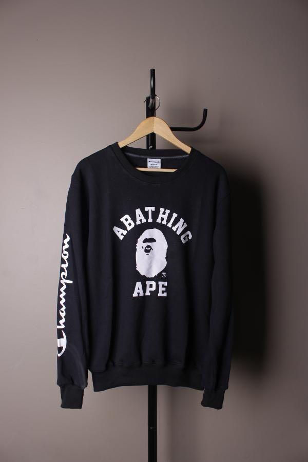 BAPE X CHAMPION A Bathing Ape College Black Premium
