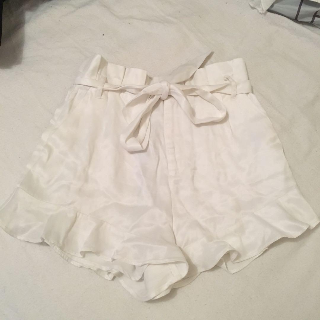 white silk shorts