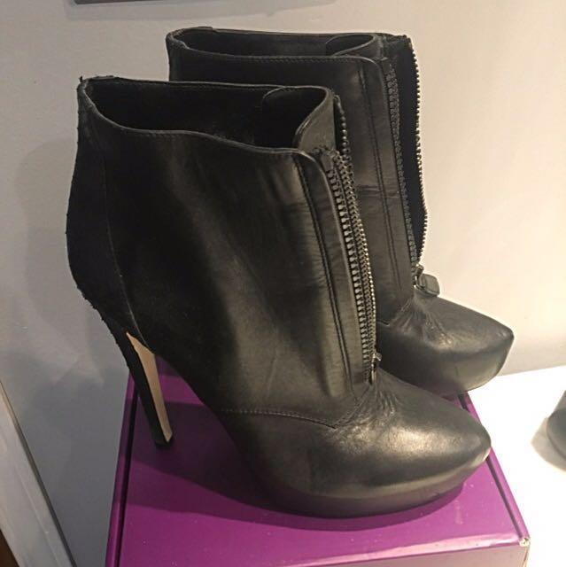 BCBG Black Leather Booties