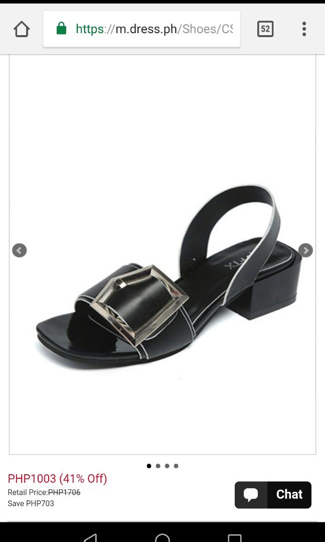 Black Leather Open Toe Low Chunky Heel Sandal