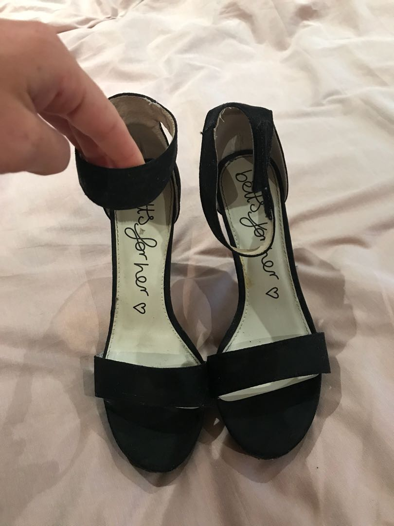 Black strap heels size 8