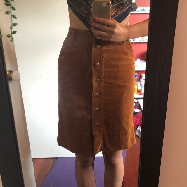 Brown Corduroy Button Up Skirt Size 8