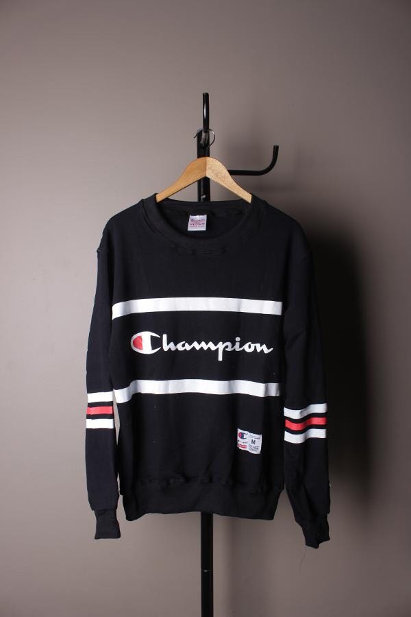 CHAMPION Crewneck Stripe Black & Stripe White Premium