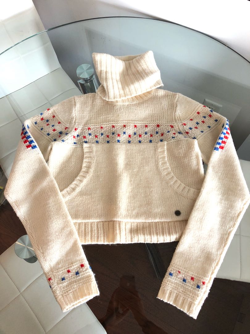 Diesel Cream Wool Turtleneck Crop Top Sweater Size XS
