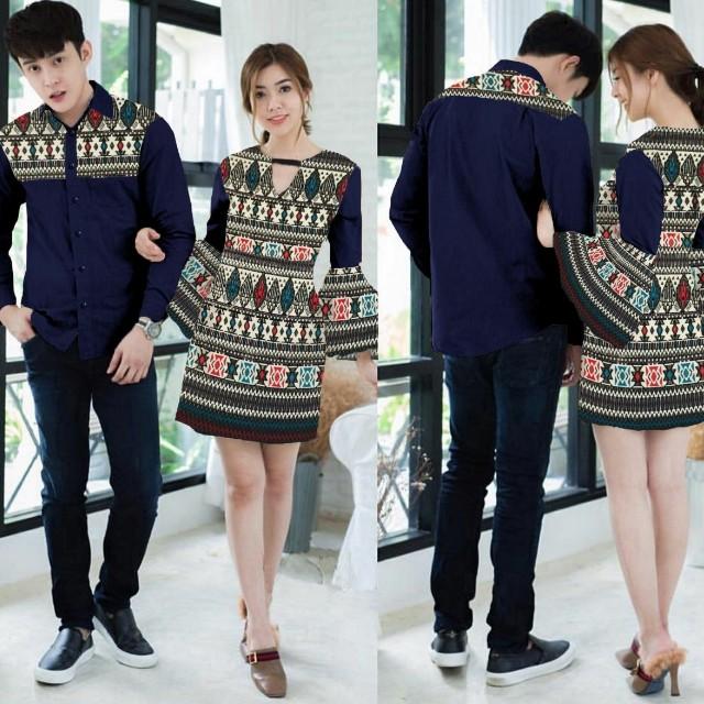 Dress trinavy batik fashion wanita cewek