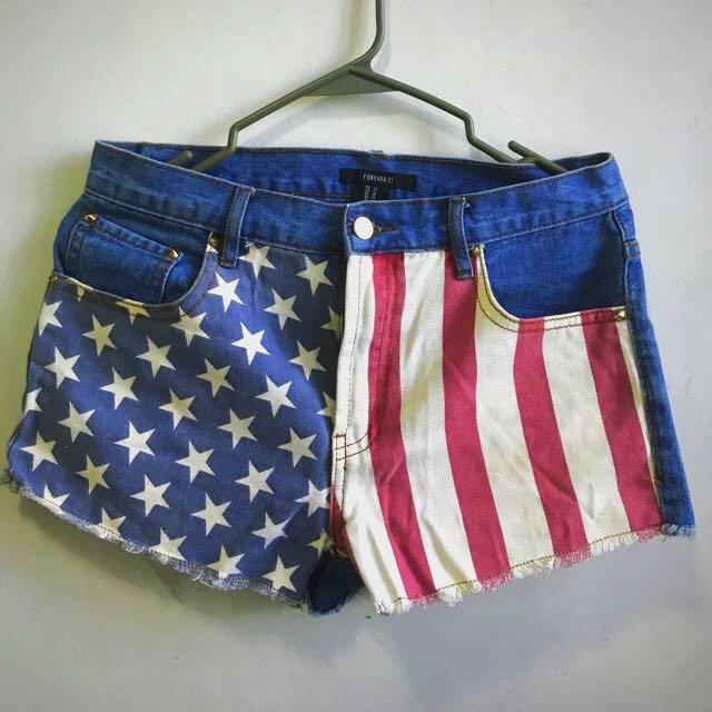 cd6f16c9185a Forever 21 American Flag Print High Waist Shorts