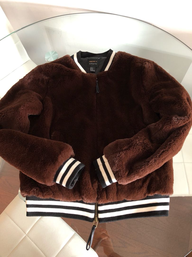 Forever 21 Brown Faux Fur Bomber Size Medium