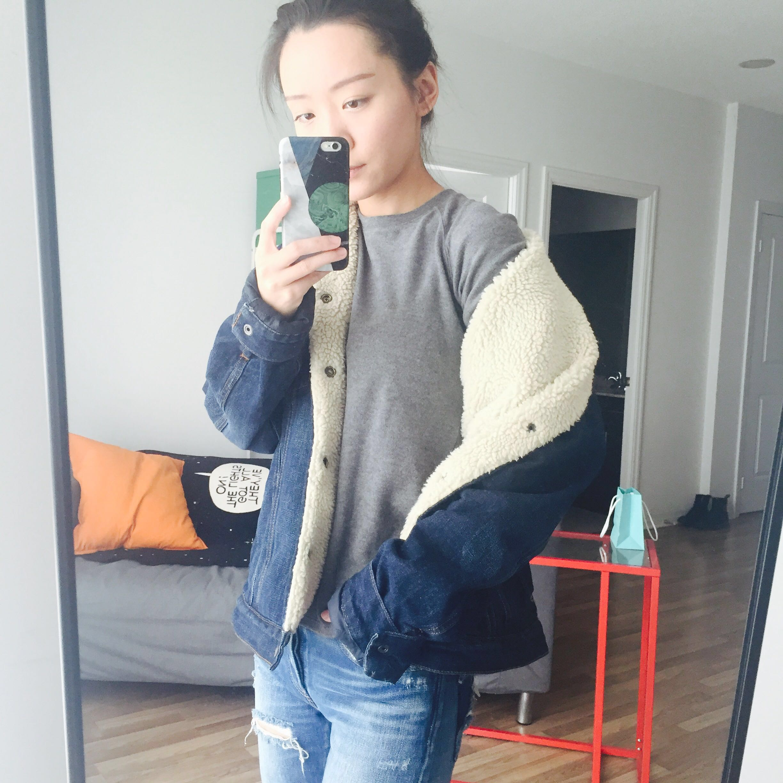 GAP oversize faux shearling denim jacket