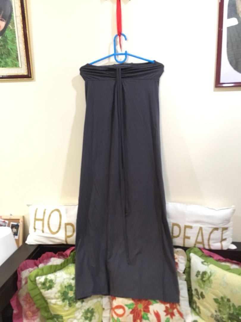 Gray maxi dress tube type with string