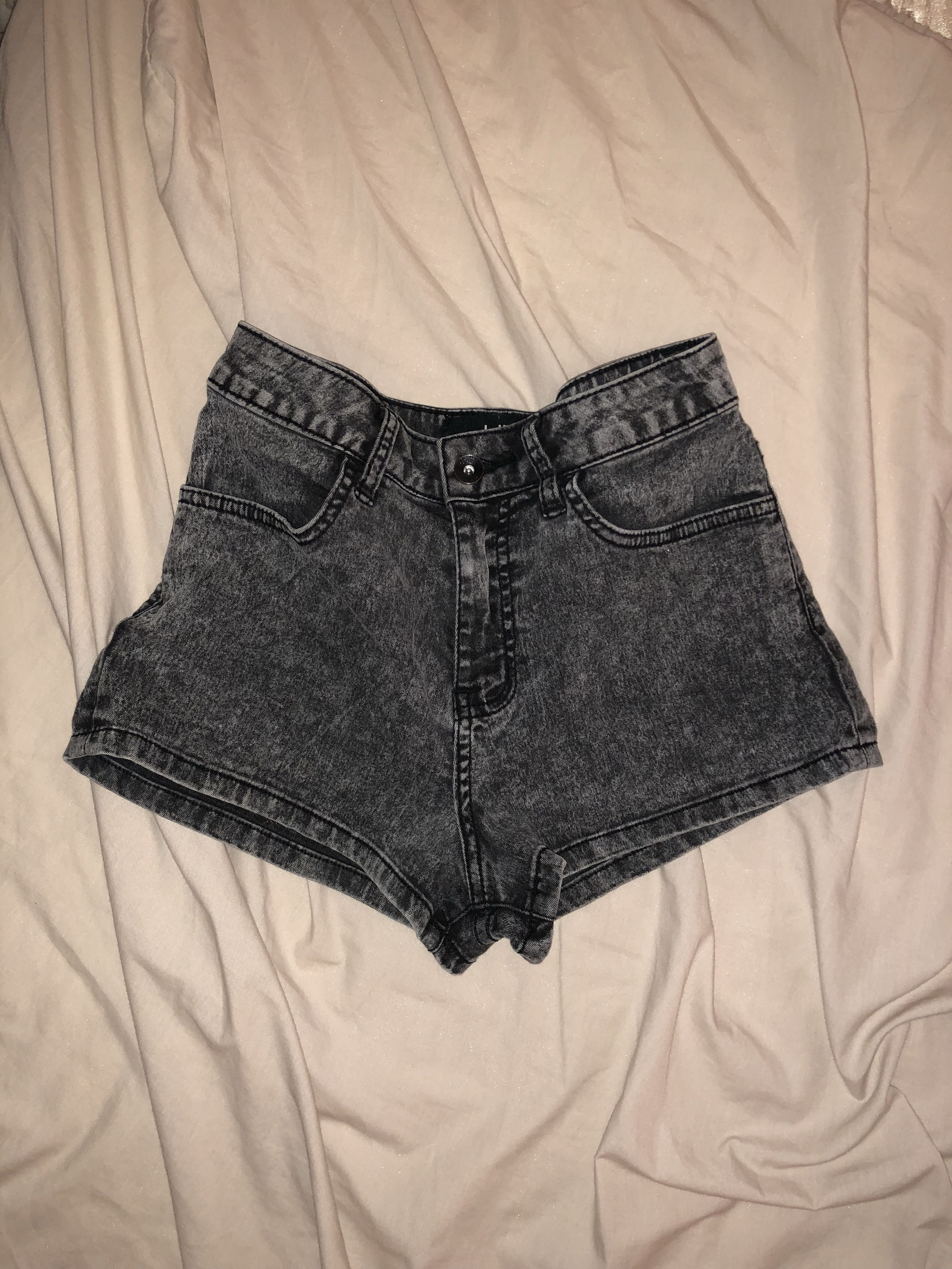Grey Black Denim Jean Shorts